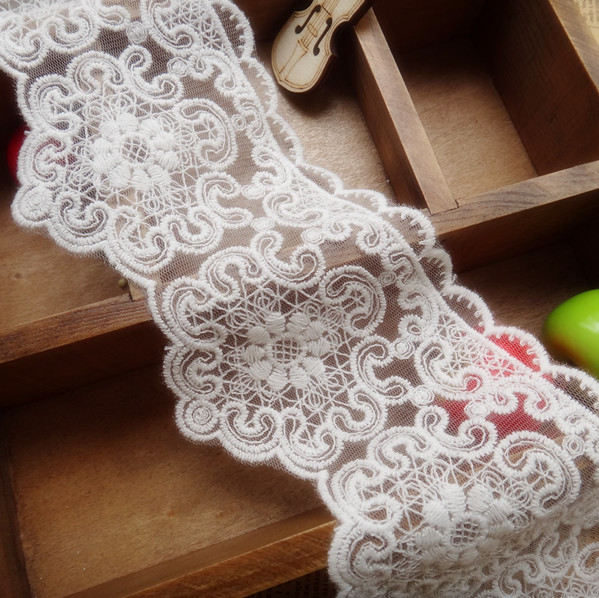 HOT New 5yds/pack 8.5cm/3.3 Organza Cotton Embroidery Lace Fabric DIY Accessary Z499