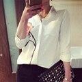Klv flor de rose impreso de manga larga blusa de las mujeres gira el collar abajo gasa blanco tamaño grande ropa de mujer