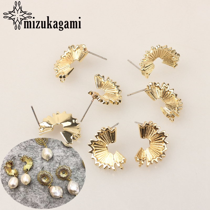 US $3 32 20% OFF Copper Real Gold Plating Fan Petal Earrings Base Earrings  Connector 15mm 3 pairs/lot For DIY Earrings Making Finding Accessories-in