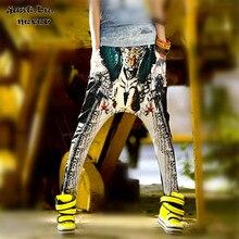 Solo ¡! nunca Hip Hop mujeres Harem pantalones cintura elástica cinco estrellas Tigre alas estampado primavera suelto Streetwear Estilo negro Pantalones