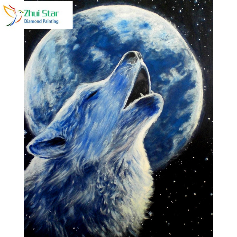 Zhui star 5d diy Diamond embroidery moon wolf diamond painting Cross Stitch full square drill Rhinestone mosaic home adorn