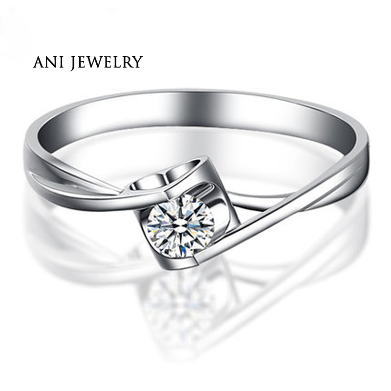 ANI 18K White Gold (AU750) Women Wedding Ring 0.2 CT Certified I/SI Solitaire Round Cut Natural Diamond Bridal Rings Customized ani 18k white gold au750 wedding ring 0 50 ct certified i si natural solitaire round cut diamond jewelry twisted bridal rings