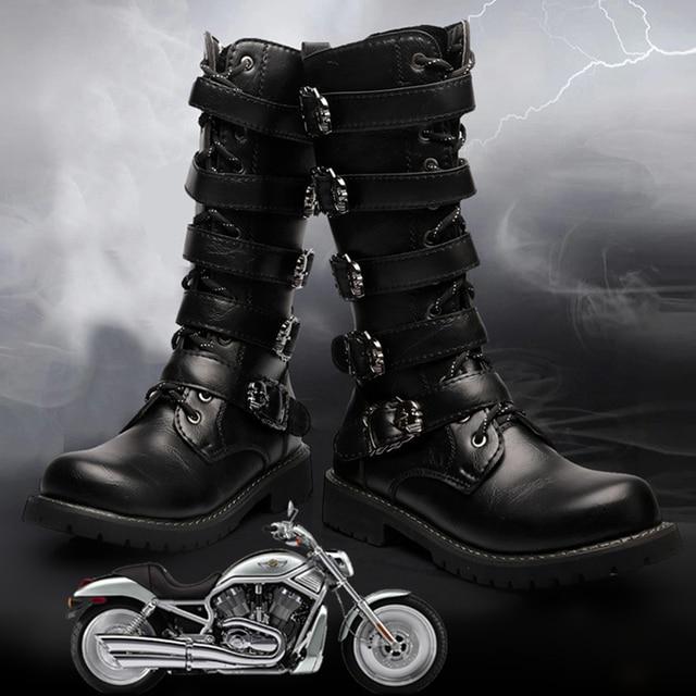 膝高男性ブーツ 38-45 革馬術男性バイク用ブーツ