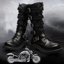 Knee High men boots 38-45 leather Equestrian men motocycle boots(China)