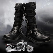 니 (High) 저 (men boots 38-45 가죽 승마 men motocycle boots(China)