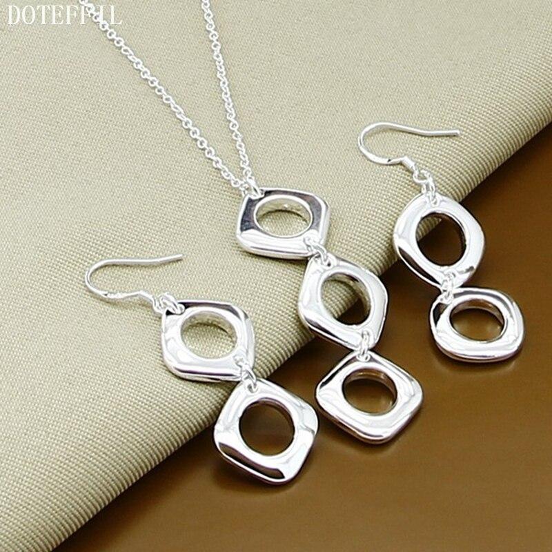 DOTEFFIL 925 Sterling Silber Runde Quadrat Anhänger Halskette Ohrring Set Für Frau Hochzeit Engagement Party Fashion Charme Schmuck