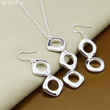DOTEFFIL 925 Sterling Silver Round Square Pendant Necklace Earring Set For Woman Wedding Engagement Party Fashion Charm Jewelry