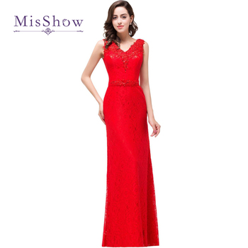 2019 Sexy Mermaid Evening Dresses Beading Red Lace Long Banquet Party Evening Gown Formal Dress With Belt Vestido De Festa Longo