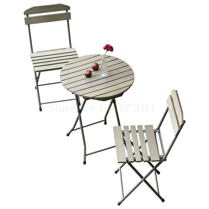 Balcony table and chair three-piece Nordic creative garden terrace folding simple leisure outdoor garden table and chairs