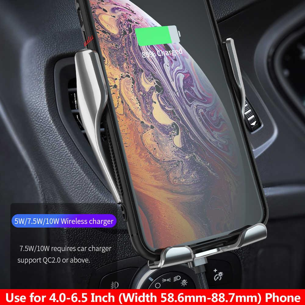 Fdgao 10W Otomatis Pengisian Cepat dengan QI Wireless Charger Mobil untuk iPhone 11 X X XR 8 Samsung S10 S9 ventilasi Udara Mobil Dudukan Telepon