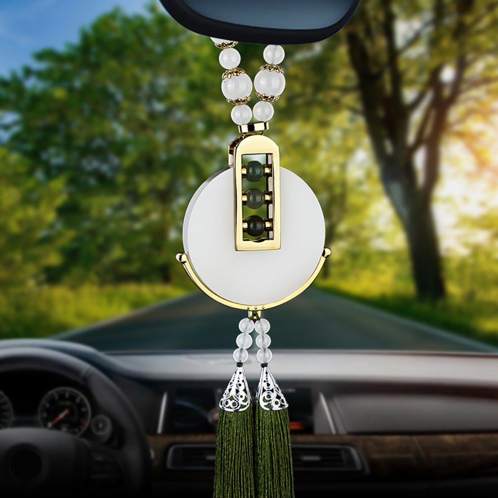 Car Pendant White Jade Hanging Decoration For Automobile Rear View Mirror Chinese Craft Auto Interior Ornaments Accessories Gift