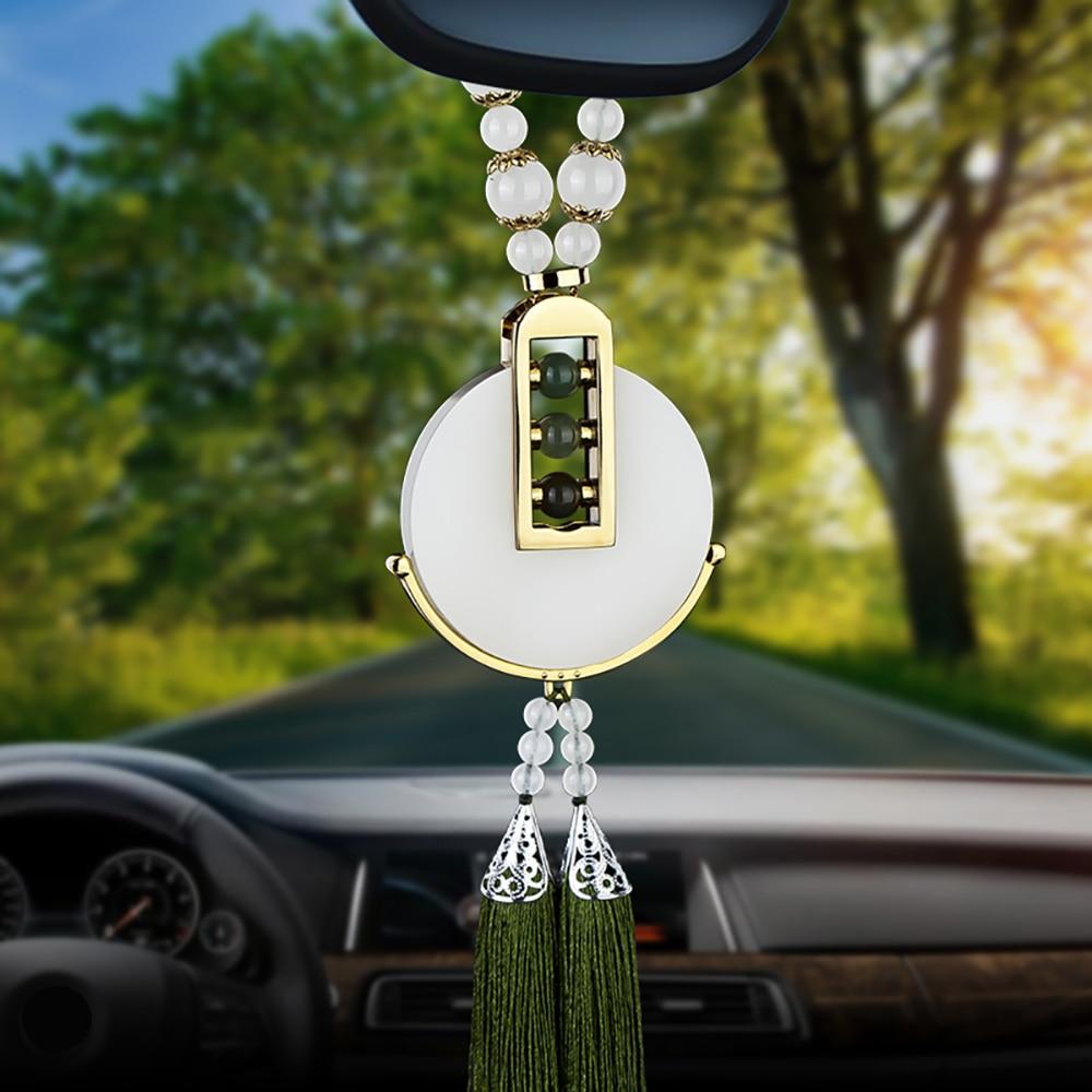 Voiture Pendentif Blanc Jade Suspendus Décoration Pour Automobile Rétroviseur Chinois Artisanat Auto Intérieur Ornements Accessoires Cadeau