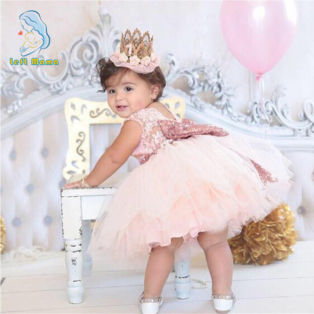 fb0538e10349 Christmas Baby Girl Dress Christening Gowns Infant Gold Pink Bow ...