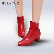 plus size 34-44 Women Buckles Ankle Boots Autumn Winter Thick High Heel Martin Zip Leather Shoes Ladies Motorcycle