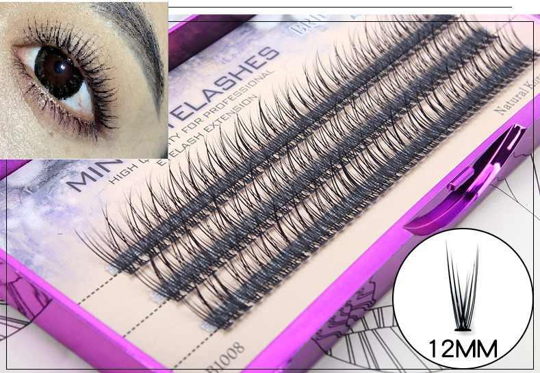 58cb701d861 Natural Individual Lashes Extension C0.1 Handmade False Eyelashes Fish tail  Curl Cluster Lash Eyelashes
