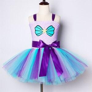 Image 2 - 女の子マーメイドチュチュドレスカチューシャドレス下で誕生日のテーマパーティードレス子供のためのガールプリンセスマーメイド衣装