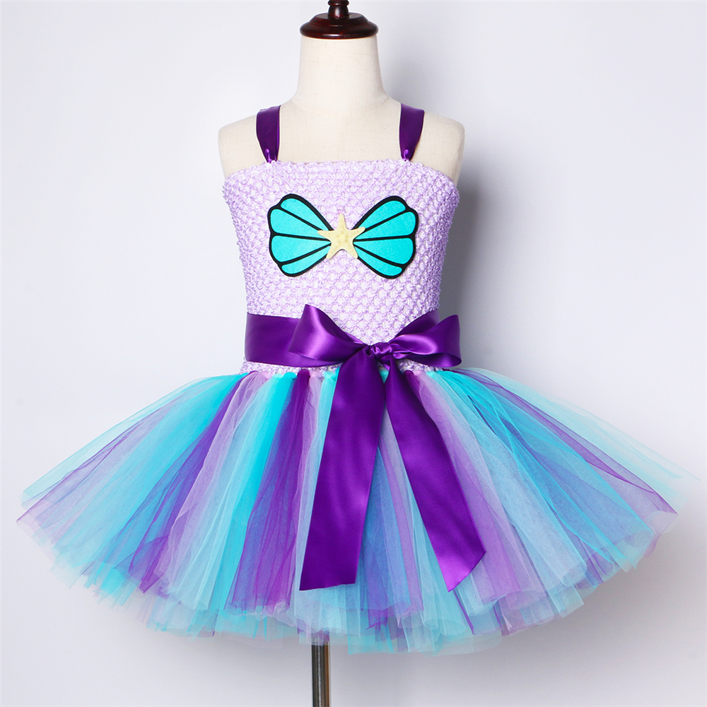Image 2 - Mermaid Girls Tutu Dress with Headband Outfit Under The Sea Birthday Theme Party Dress for Kids Girl Princess Mermaid CostumeDresses   -