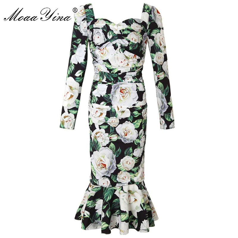 MoaaYina Fashion Designer Runway dress Spring Women Dress Long sleeve Floral Print Ruched Package buttocks Mermaid