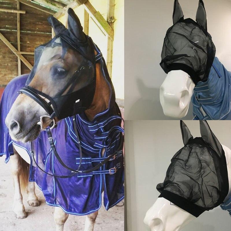 חדש לגמרי סוס לטוס מסכת פנים ראש כיסוי רכיבה ציוד רכיבה מירוץ Paardensport לטוס מצנפת נטו אוזן maks מגן F