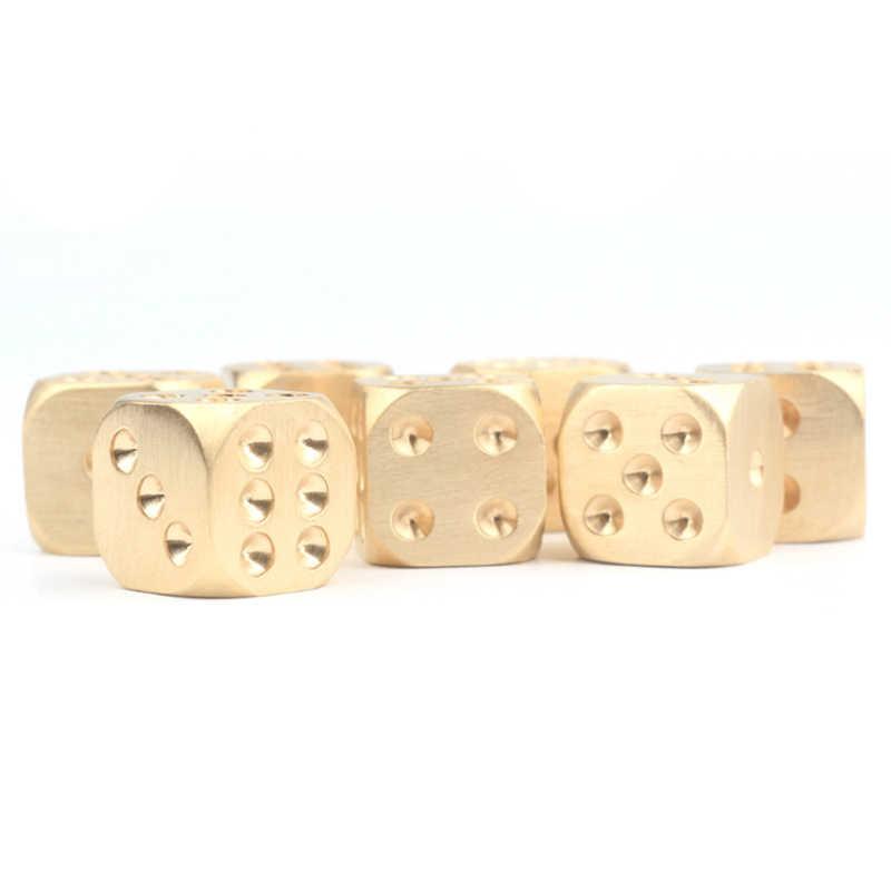 Dado de bronze para polimento manual, dado com soldas de cobre puro para polimento, festa de jantar, mahjong sieve criativo, pequeno e decorativo, 1 peça itens