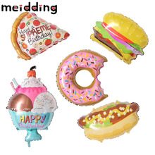 MEIDDING 1pcs Donuts Cream Hamburger Hot Dog Inflatable Balloons Birthday Wedding Decoration Baby Shower Kids Party Supplies