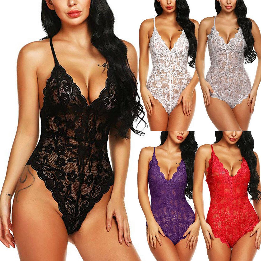 Plus Size Sexy Erotic Nightdress Women Sexy Lingerie Female Girls Lace Floral Dress Deep V-Neck Nightdress Nightwear Sleepwear