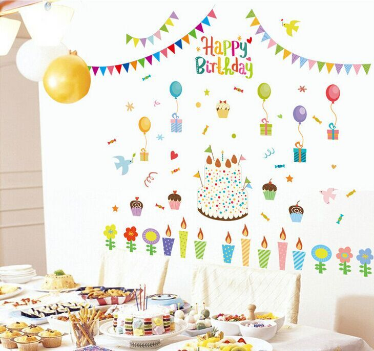New DIY Cake Birthday Party Balloon Wallpaper Wall Stickers ABQ9705 Living Room TV Sofa Background Decoration In From Home