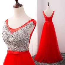 Evening Dress 2017 Sexy Long Party Prom Gown Tulle Sequin V Neck Elegant Formal Evening Dress Plus Size