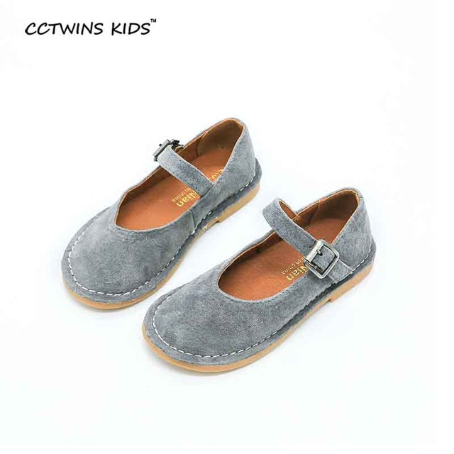 CCTWINS KIDS spring autumn toddler genuine leather fats for baby girl  brand shoe children brand gray shoe