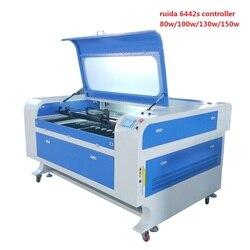 Laser cutting machines 1390 ruida 6442s reci or EFR 80w 100w 130w leadshine brand motor Hiwin guida rail front to rear design
