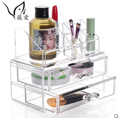 Transparent Makeup Box Acrylic Cosmetics Organizer Desktop Clear Box storage Case Large makeup organizer