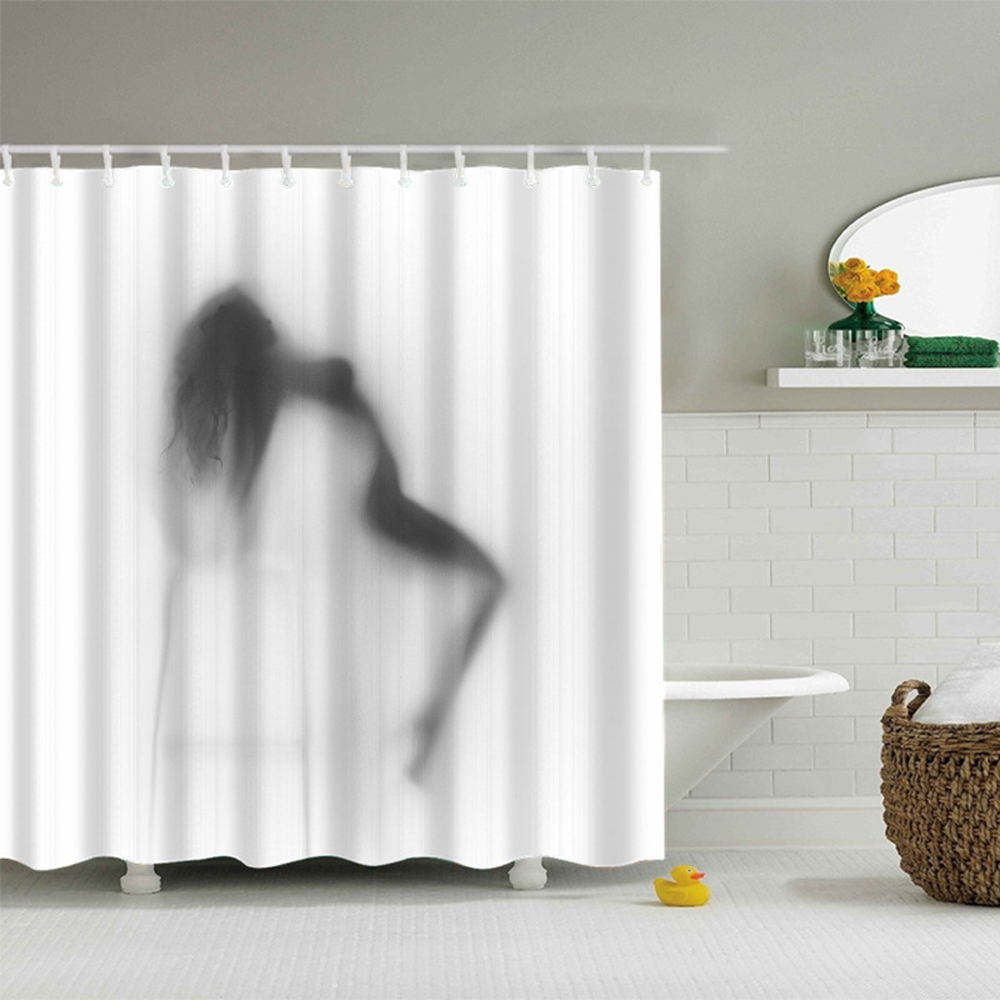 Bathroom curtains black and white - Polyester Fabric Shower Curtain Waterproof Home Bathroom Curtains Nude Beauty White And Black Bath Curtain For The Bathroom