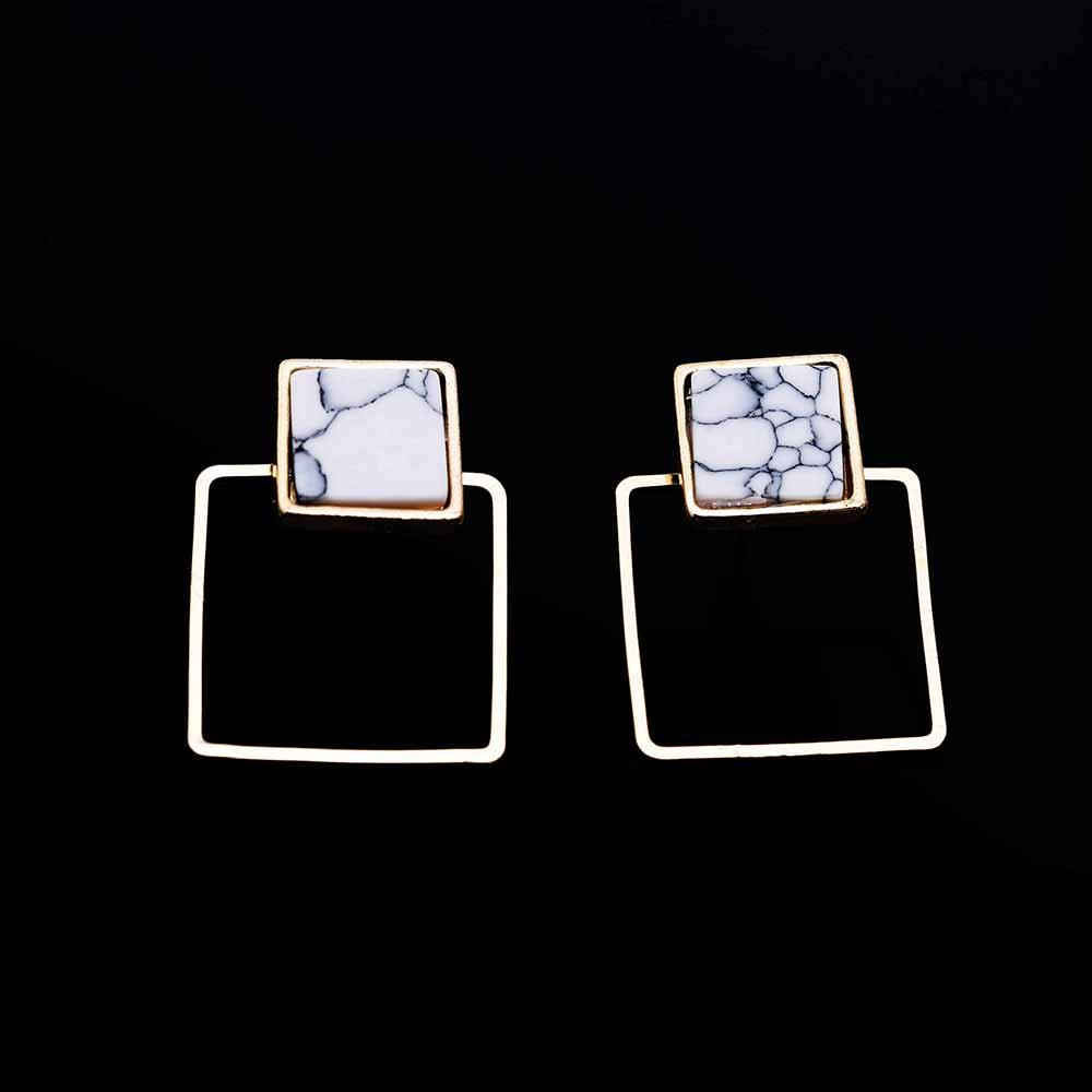 Geometric Faux Stone Stud Earring 4