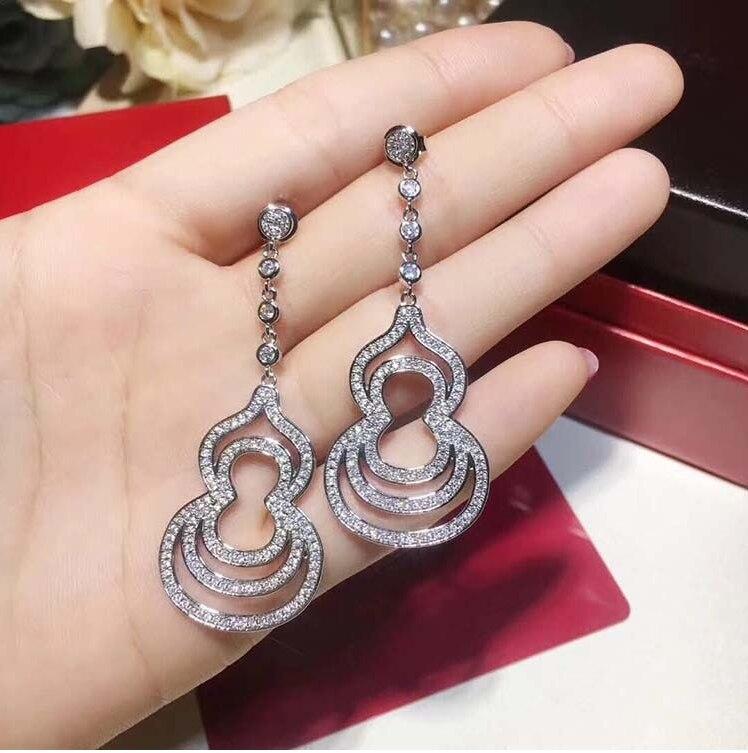 Nouveau chaud 925 en argent Sterling CZ gourde boucles d'oreilles avec Zircon boucles d'oreilles pour les femmes de mariée mode oreille bijoux en gros