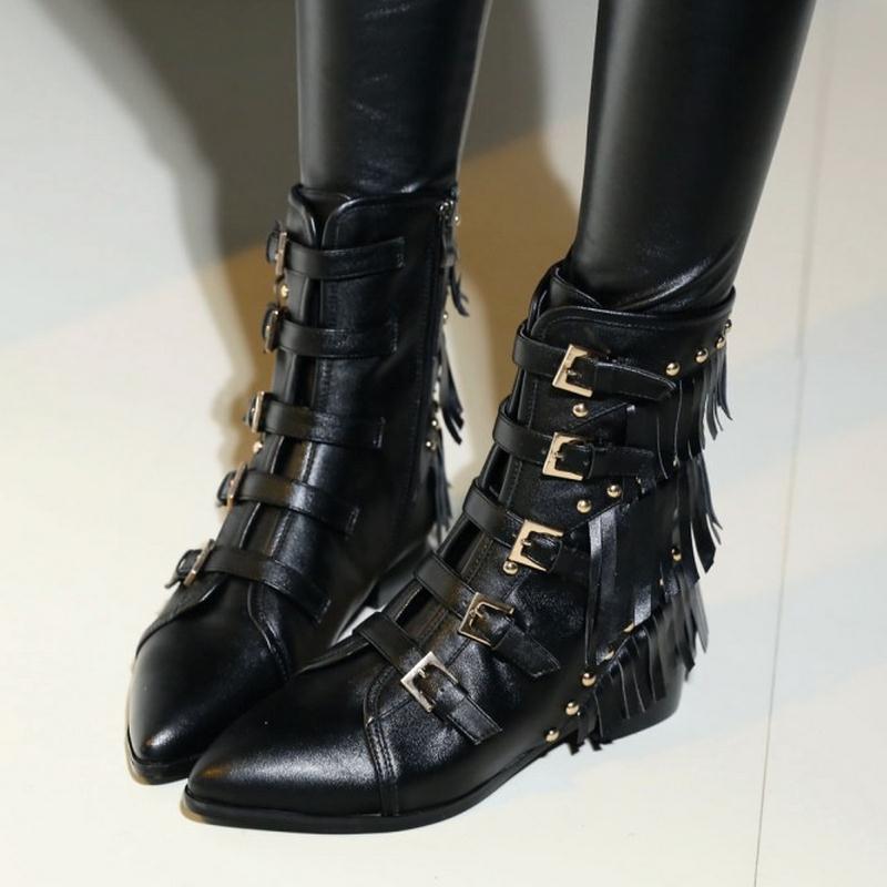 Sexy Talons Pointu Femmes Bottes D'hiver Misakinsa Cheville 34 Chaussures Rivets Bout En Naturel Carré Réel Nouvelles Gland 40 Noir Taille Cuir 7pfw1