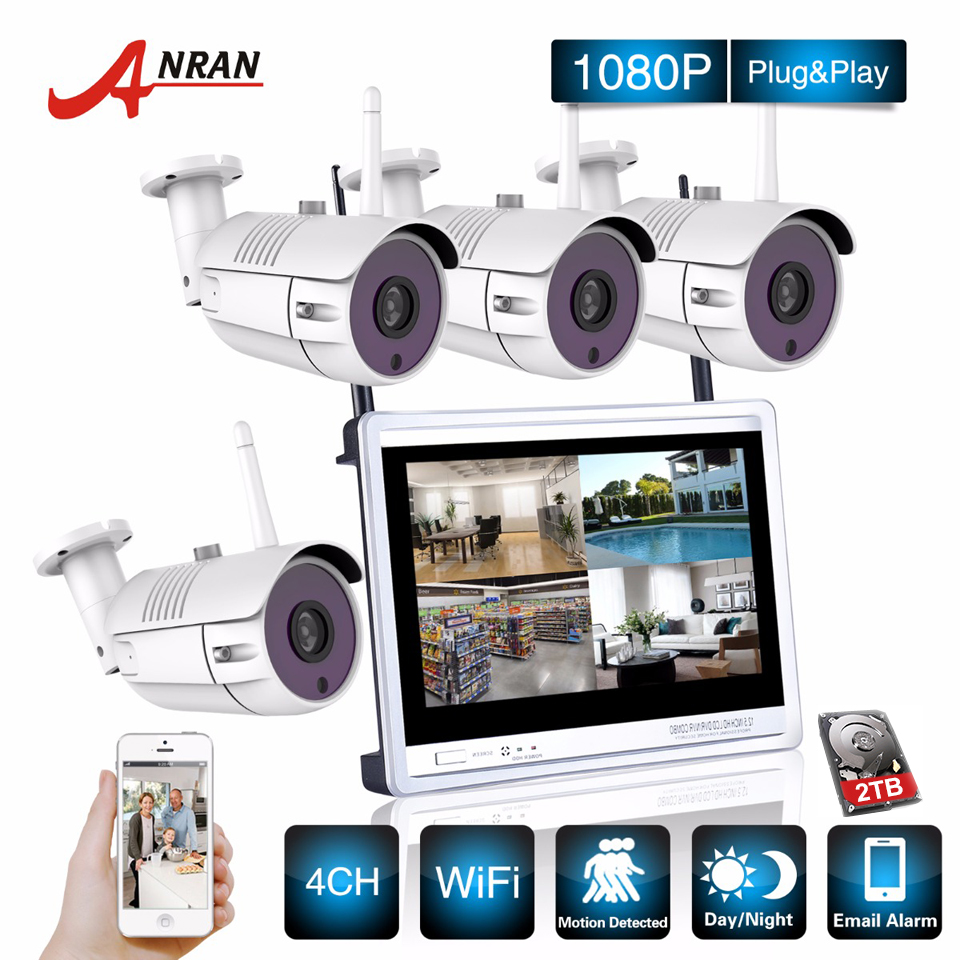 P2P CCTV 1080P 4CH NVR 12 Inch LCD Monitor 4PCS 36 IR Outdoor IP WIFI Camera Surveillance Security Wireless System Kit 2TB HDD 4 pcs 1080p wireless ip camera 1pcs 8ch nvr kit