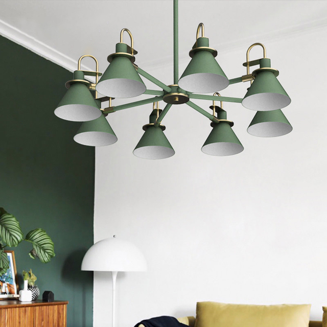 The Nordic modern minimalist bedroom chandelier iron hall creative personality Macarons restaurant black white or green LED lamp