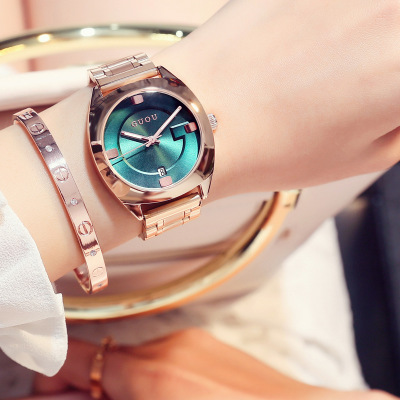 GUOU Brand Women Luxury stainless steel quartz wristwatch fashion casual ladies watches women's Rose Gold Watch relogio feminino 2016 new ladies fashion watches decorative grape no word design gold watch stainless steel women casual wrist watch fd0107