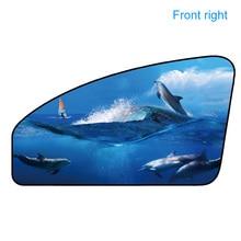 Car Side Window Sunshade multiple colour Magnetic Curtain Cartoon image Sun UV Protection Heat Insulation