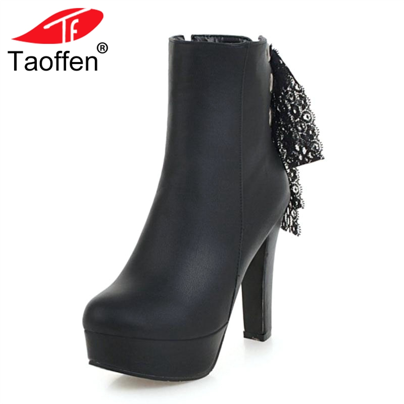 TAOFFEN Women High Heels Boots Lace Fur Winter Warm Woman Shoes Platform Ankle Boots Fashion Sexy Short Boots Size 32-43TAOFFEN Women High Heels Boots Lace Fur Winter Warm Woman Shoes Platform Ankle Boots Fashion Sexy Short Boots Size 32-43