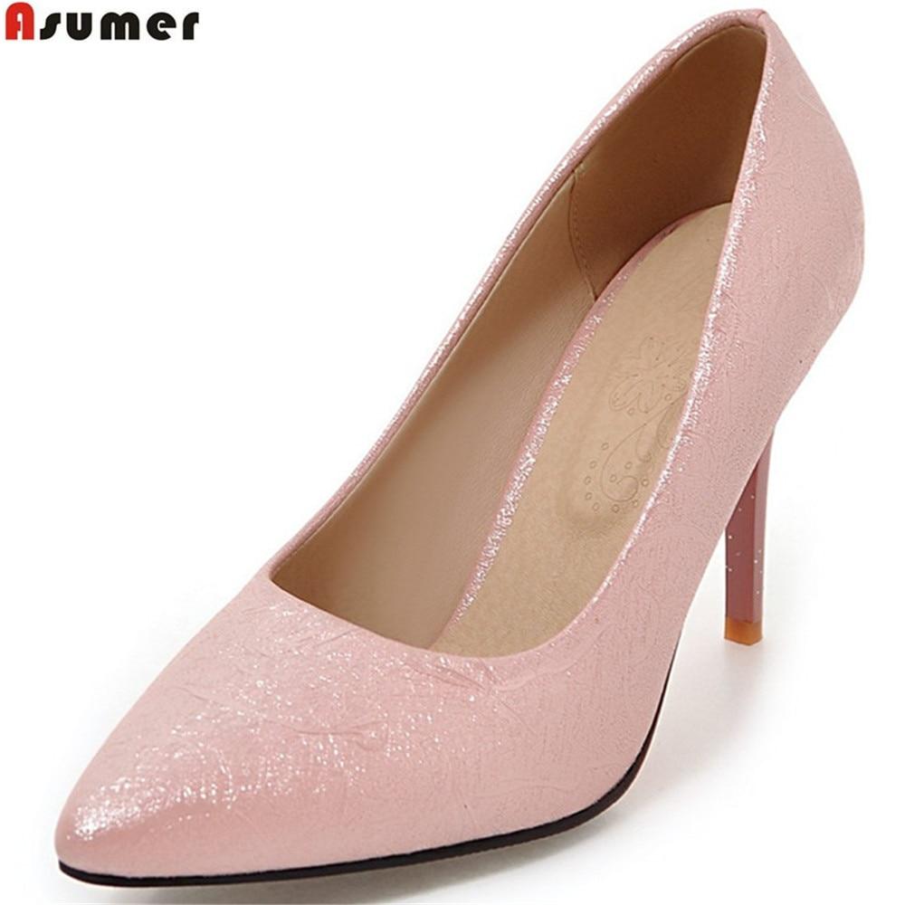 ASUMER Ladies Shoes Thin Heel Women Pumps Pointed-Toe Elegant Plus-Size Spring Autumn