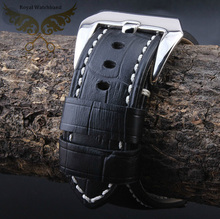 24mm New High Quality Men Black Crocodile Pattern Genuine Leather Watch Band Strap With Silver Polished