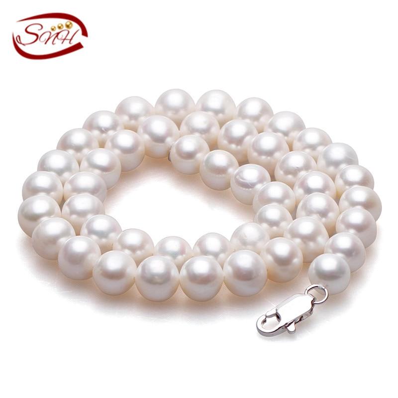 ホワイトラウンド淡水ナチュラルパールネックレス女性ファインジュエリーパール925シルバーネックレス養殖本物の真珠のネックレス