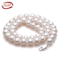 Natural Pearl Necklace Casual 8mm Off Round Pearl Choker Necklaces 18 Inches White Freshwater Pearl Choker