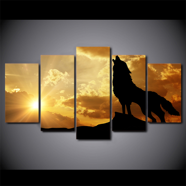 5 Pcs Sunset Howling Wolf Canvas HD Printed Poster Frame Painting ...