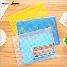 1шт А4 прозрачный пластиковый информацию мешков PP файл Snap карман цвет для офиса канцтовары 32.5*23.5 см 14 шелк