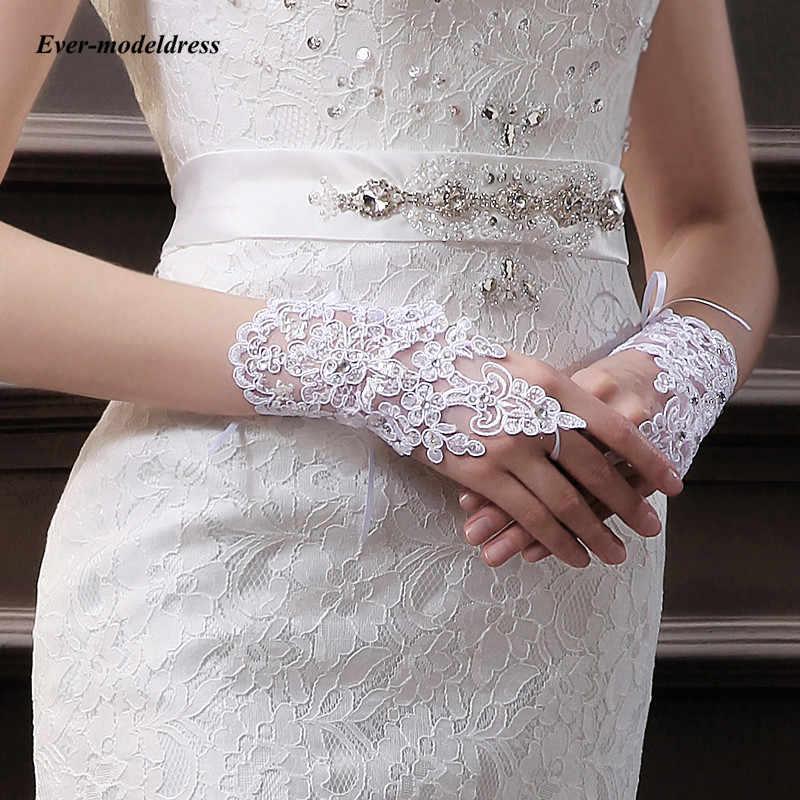אופנה קצר כלה כפפות יד אורך ללא אצבעות תחרה אפליקציות נצנצים לבן שנהב חתונה כפפות כלה אביזרי זול