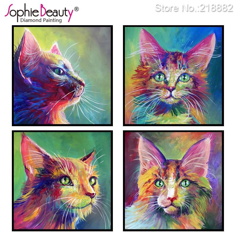 Sophie Beauty New Diy Diamond Painting Cross Stitch Needlework Beaded Embroidery Color Animal Cat Handcraft Mosaic Kit Art Gift