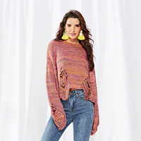 Women Autumn Crop Top Sweater Flare Sleeves Pullovers Sweet Candy Color Loose Tops MX8