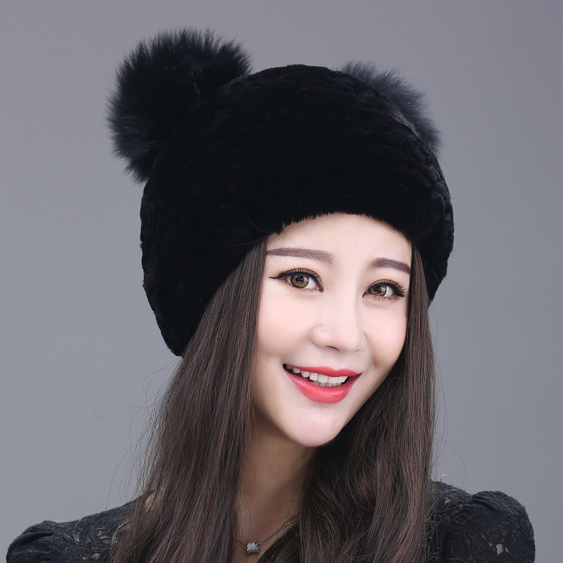 2017 New Fashion Fur Hat Children Winter Rabbit Hair Ball Cap Thick Warm Earmuffs Rex Knit Hat Lady Korean Tide princess hat skullies new winter warm hat wool leather hat rabbit hair hat fashion cap fpc018